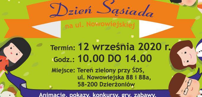 """Zapraszamy na rodzinny festyn integracyjny """"Dzień Sąsiada"""" organizowany przez Środowiskowy Dom Samopomocy w Dzierżoniowie."""